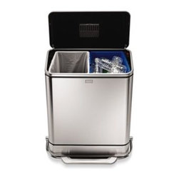 Simplehuman - simplehuman 48-Liter Steel Bar Recycler - In addition to its chic look, this contemporary simplehuman step can has a solid steel bar pedal and fingerprint-proof finish. Its two 24-liter inner buckets and space-efficient shape make it easy to separate trash and recyclables in one place.