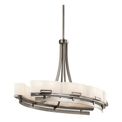 Kichler Lighting - Kichler Lighting Leeds Modern / Contemporary Oval Chandelier X-PA13424 - Creating an urbane atmosphere, this chandelier displays a modern aesthetic with the satin etched cased opal glass shades. The geometric steel frame with unconventional design is finished in antique pewter. The Kichler Lighting Leeds Contemporary Oval chandelier provides subtle sophistication with clean lines and edges.