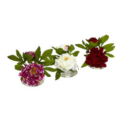 Nearly Natural - Peony with Glass Vase (Set of 3) - When we created this cute little 6' Peony, we said 'no sir, one is not enough'. So we've arranged a set of three for Peony lovers everywhere. With two blooms of varying size (one main, one smaller) surrounded by a backdrop of green leaves, these make an ideal decoration for a smaller space that doesn't want to be overwhelmed. Also makes a really thoughtful gift (who doesn't like receiving THREE of something beautiful?)