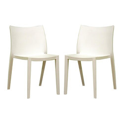 Wholesale Interiors - Baxton Studio Contemporary White Molded Accen - Mid-height molded plastic accent chairs by Baxton Studio are ideal for additional seating anywhere in your home. Sleek modern design features slender tapered legs with contoured backs and seats for optimal comfort. Brilliant pure white finish blends with any decor, and easily wipes clean when necessary. Lightweight and compact, these are the ideal chairs for the kitchen, home office, or even the bathroom. Set of 2. White heavy-duty molded plastic. Simple straight line-based design. No assembly required. 22 in. W x 19.5 in. L x 32 in. H (23 lbs.)Seat height is 18 inches and seat depth is 17 inches. This pair of accent chairs/dining chairs is about as minimal as can be. Both the backrests and seat surfaces are solid, simple squares with an ever-so-slight curve worked into the design. Each is made from sturdy and supportive molded plastic