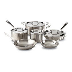 All-Clad - All-Clad d5 Brushed Stainless Steel 10 Piece Cookware Set (BD005710-R) - The All-Clad d5 Brushed Stainless 10 piece cookware set includes a combination of two sauce pans, two fry pans, a saute pan, and a stock pot. These All-Clad d5 pans have beautiful brushed stainless steel finishes that give them a great look you're sure to love. Also, each pan features even heat without hot spots because they're made with All-Clad's d5 5-layer construction with steel and aluminum. Made in the USA, you can depend on this All-Clad d5 brushed stainless set to last a lifetime thanks to All-Clad's lifetime warranty.