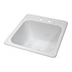 "Lyons - Lyons Deluxe DLT01 Acrylic Kitchen Sink - Lyons Industries White Self-rimming acrylic Laundry Sink with molded soap dish. This 20"" X 22"" sink has a functional design, with a 12"" deep bowl and two faucet holes on 4"" centers. This sturdy sink has durable easy to clean high gloss acrylic construction with a fiberglass reinforced insulation backer. This sink is quiet and provides a superior heat retention than other sink materials. Lyons sinks are proudly Made in America by experienced artisans supporting our economy."