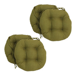 Blazing Needles - Blazing Needles Solid 16 x 16-inch Round Outdoor Chair Cushions (Set of 4) - Add a touch of style and comfort to outdoor furnishings with the Blazing Needles Set of Four 16 x 16-inch Round Outdoor Chair Cushions. Available in 14 colors,these solid cushions feature a classic tufted cushion style with ties for easy fastening.