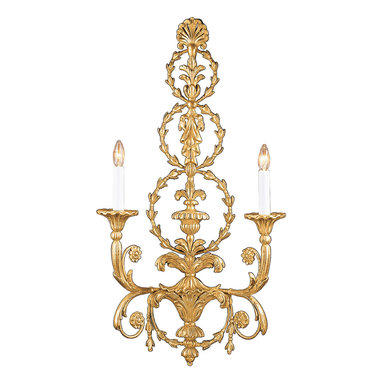 "Inviting Home - Adam style Electrified Wall Sconce - Adam style electrified wall sconce in antiqued gold leaf finish ; 17""x 31-1/2""H ; hand-crafted in Italy; This electrified wall sconce is hand-crafted in the Adam style from carved wood and wrought iron. Wall sconce has a leaf motif and richly embellished two-way scrolled arm. Expertly applied antiqued gold leaf finish adds a sense of history while highlighting the incredibly detailed design of the sconce. This wall sconce has a stylish sculptural qualities that are an assertive form of artistic expression. UL approved - dry location; hardwire; 2x 60W max. candelabra bulds; bulbs not included. Handcrafted in Italy."