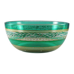 "Christmas  Garland 11"" Bowl - This is an 11"" bowl is hand painted and is from our Mosaic collection and inspired by the colorful tiles of the Alhambra.  Something to be handed down from generation to generation. Proudly hand painted in the USA."