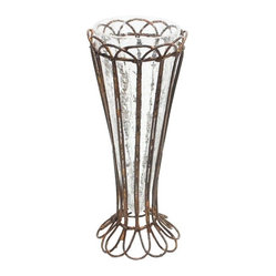 Aiden Gray - Rusted Tulip Vase - The only thing more charming than a bouquet of tulips would have to be a bouquet of tulips in this shabby chic vase. The hand-bent, rusted wire exterior would add a rustic-French look to a dining table.