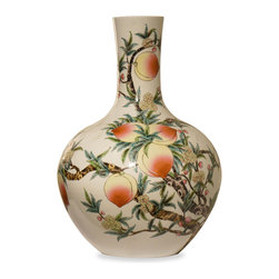 China Furniture and Arts - Hand-Painted Longevity Peach Design Porcelain Temple Vase - Intricately hand-painted by artist in China, this porcelain temple vase is handcrafted and decorated in a peach tree motif, which symbolizes long life in Chinese culture. Display it on a console table or niche to bring good Feng-Shui and Chi to your room. This is one-of-a-kind item to collect.