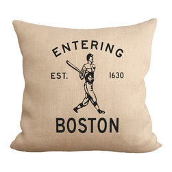 """Fiber and Water - Entering Boston Pillow - No Pillow Insert. Cover Only - When you're entering Boston, the first thing you should think of is. . . baseball! This is a widely popular print for New Englanders. This hand-printed piece of art has beautiful texture from a combination of natural burlap and water-based paints. Dimensions: 19""""x19"""". Front: 100% Sultana Burlap w/ Hand-Pressed Print in Black. Back: 100% Natural Duck Cloth Canvas. French Seams & Surged Edges. Aluminum Hidden Zipper. Spot-Clean Only. As always, Made in Maine."""