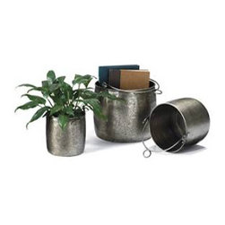 Set of Three Handcrafted Iron Pails - These iron pails are excellent planters but really can be anything. I'm a big fan of the hammered metal look in planters and like the idea of mixing up the three sizes to create a grouping of plants.