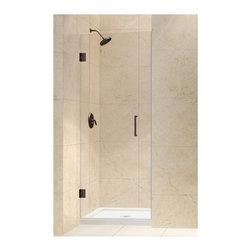 """DreamLine - DreamLine SHDR-20257210F-06 Unidoor Shower Door - DreamLine Unidoor 25"""" Frameless Hinged Shower Door, Clear 3/8"""" Glass Door, Oil Rubbed Bronze Finish"""