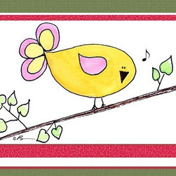 Oh How Cute Kids by Serena Bowman - Song Bird - Yellow , Ready To Hang Canvas Kid's Wall Decor, 11 X 14 - Each kid is unique in his/her own way, so why shouldn't their wall decor be as well! With our extensive selection of canvas wall art for kids, from princesses to spaceships, from cowboys to traveling girls, we'll help you find that perfect piece for your special one.  Or you can fill the entire room with our imaginative art; every canvas is part of a coordinated series, an easy way to provide a complete and unified look for any room.