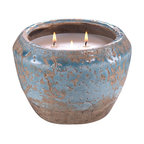 Provence Blue Cement Three Wick Candle Pot - Citronella - Stunningly transitional, the Provence Blue Candle pot has an aged patina that make it feel like it is an old French antique pot being repurposed for a different use. Three wicks ward off any potentially pesky insects with a lovely blend of citronella, geranium and lemongrass.