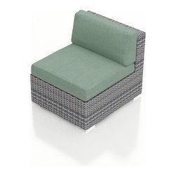 Harmonia Living - Urbana Modern Outdoor Sectional Middle, Weathered Stone Wicker, Spa Cushions - The Harmonia Living Urbana Modern Wicker Outdoor Sectional Middle Section with Turquoise Sunbrella cushions (SKU HL-URBNWS-MS-SP) is the perfect piece for expanding your own stylish Urbana modern patio sectional set. Covered in High-Density Polyethylene (HDPE) wicker, this sectional piece has fade-resistant color designed to withstand the elements. The outdoor wicker sectional piece is constructed with a sturdy, thick-gauged aluminum frame, protected with a powder coating for even greater corrosion resistance. The seats are also reinforced to provide support and prevent excessive wicker stretching from repeated use. Both seat and back cushions are included, with fade- and mildew-resistant Sunbrella fabric in Canvas Spa.
