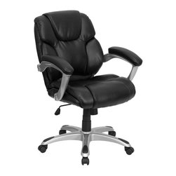 Flash Furniture - Black Leather Swivel Office Computer Chair - Headrest. Sculpted back and seat. Lumbar support. Titanium finished loop arms. Leather upholstered arm rests. Spring tilt mechanism. Pneumatic seat height adjustment. Tilt tension control. Heavy duty nylon base. Dual wheel casters. Warranty: 2 years limited. Assembly required. Back: 21.5 in. W x 21.5 in. H. Seat: 21 in. W x 20.5 in. D. Seat Height: 19.5 - 23.5 in.. Arm Height from Floor: 26.75 - 30.75 in.. Arm Height from Seat: 8.5 in.. Overall: 27.5 in. W x 26 in. D x 37.5 - 41.5 in. H (43 lbs.)