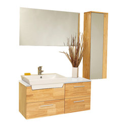 "Fresca - Fresca Caro Natural Wood Vanity w/ Mirrored Side Cabinet - Dimensions of vanity:  36""W x 14.75""D x 19.25""H. Dimensions of mirror:  35.5""W x 19.75""H. Dimensions of side cabinet:  12""W x 39.38""H x 8.63""D. Materials:  Solid Oak wood, ceramic sink with overflow. Soft closing drawers. Single hole faucet mount. P-trap, faucet, pop-up drain and installation hardware included. This solid wood ensemble is contemporary and chic in design.  This vanity offers a touch of sophistication of white counter top contrasted and a white basin against natural wood.  Comes with a mirror and an additional storage cabinet.  Ideal for anyone looking for a simple yet elegant look."