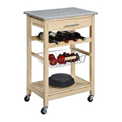 Linon - Granite Top Kitchen Cart - Natural Base - 44037NAT-01-KD-U - Shop for Carts from Hayneedle.com! The Granite Top Kitchen Cart with Natural Finish makes quick work of a complicated concept: kitchen organization! Packing tons of storage in a lightweight versatile unit this cart gives you work space too with a generous top surface made from natural granite. There's nothing better for food preparation. The cart itself is made from pine wood and MDF (medium density fiberboard) and has a light natural finish that contrasts nicely with the gray of the granite. A built-in drawer large bottom shelf and pull-out wire basket let you keep utensils towels and supplies nearby. The built-in wine rack holds four bottles too.This cart is mounted on heavy duty locking rubber casters and is finished on all sides so you can use it in the middle of the room if you'd like. Measures 22.8W x 15.625D x 33.875H inches.About Linon Home DecorLinon Home Decor Products has established a reputation in the market for providing the best trend-right products at the right price while offering excellent quality style and functional furnishings to every room in the home. Linon offers a broad selection of furnishings for today's discriminating and demanding retail environments. They offer outstanding values for every room; a total commitment of quality service and value that is unsurpassed in their industry.