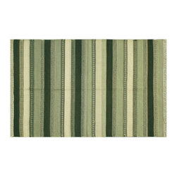 Oriental Rug, 4'X7' SHades Of Green Flat Weave Durie Kilim 100% Wool Rug SH6334 - Soumaks & Kilims are prominent Flat Woven Rugs.  Flat Woven Rugs are made by weaving wool onto a foundation of cotton warps on the loom.  The unique trait about these thin rugs is that they're reversible.  Pillows and Blankets can be made from Soumas & Kilims.