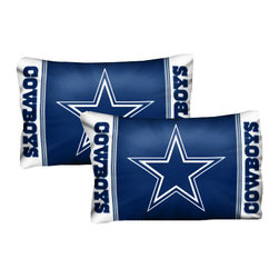 The Northwest Company - NFL Dallas Cowboys Pillowcase Set Football Logo Bedding - FEATURES: