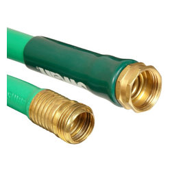 """Swan Products - Swan Soft Supple Rubber 25' Hose - Swan Soft Supple Reinf Rubber/Vinyl 5/8"""" x 25' Garden Hose - built tough for every day use yet has the soft and flexible outer jacket that has proven to be very popular for many years. Included are heavy duty crush-proof couplings along with a durable abrasion-resistant cover. Strong reinforcement gives this hose added burst strength and long life for the active gardener. From America's #1 hose manufacturer- Colorite/Swan.  5/8-"""" diameter x 25-foot length"""