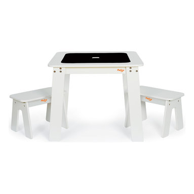 P'kolino - P'kolino Chalk Table and Benches, White - Let kids get messy with this junior-sized art station designed for easy creativity and easy cleanup. A storage container under the tabletop keeps art supplies organized and within reach. The reversible tabletop flips over to reveal a chalkboard, and is easily reversed again for a smooth, clean tabletop. If only your own desk could do that trick!