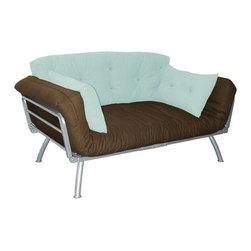Elite Products - Modern Loft Earth & Sky Sleeper Sofa - This Madagascar twin futon features a strong steel construction that supports  seafoam and plank colored cushion.  With multi-position sides that allow six  sitting and sleeping options, this futon provides maximum flexibility and comfort. * Includes mali flex frame, 6 in. futon mattress, large back support pillow and two bolsters. Strong steel frame supports up to 300 lbs. weight. Six-position side wings convert mali frame from sofa chair into multi-positional lounger. Durable silver metal frame. Ideal space saving furniture. Suitable for all ages. Warranty: One year limited. Made from metal alloy frame, polycotton and soft suede. Mattress and pillows made in USA. Minimal assembly required. 61 in. L x 31 in. W x 29 in. H (73 lbs.)It's the perfect addition to any home, office, dorm or apartment. Cushions offer contemporary style and superior comfort.