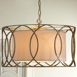 Antique Classic Country Iron and Fabric Pendant lighting -