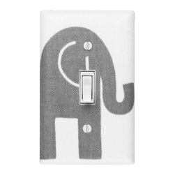 Slightly Smitten Kitten - Elephant Nursery - Handmade light switch plates are a fun and creative way to add the perfect finishing touch to your child's room or baby nursery!  This light switch plate features an adorable stormy gray elephant on a white background!