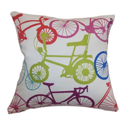 "The Pillow Collection - Echuca Bicycles Pillow Confetti 20"" x 20"" - Colorful and whimsical, this quirky throw pillow features a bicycle print pattern. This accent pillow is an ideal statement piece for your sofa, bed or chair. This playful decor pillow is a great gift ideas for kids, cyclists and sports-minded individuals. This 20"" contemporary pillow is made from 100% soft cotton fabric. Hidden zipper closure for easy cover removal.  Knife edge finish on all four sides.  Reversible pillow with the same fabric on the back side.  Spot cleaning suggested."