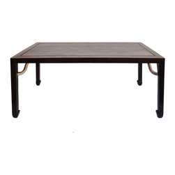 Golden Lotus - Chinese Rectangular Oriental Long Drawing  Dining Table - This is a rectangular wooden table with oriental arpon around the legs. The brown color stain is used around the edge and legs. The table top has natural wood light color and wood pattern.