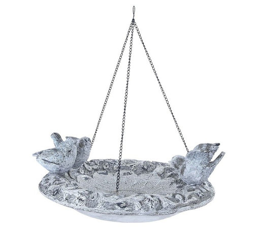 Benzara - Poly Stone Hanging Birdfeeder in Elegant Design - Bring home this 17 in. H Unique Poly Stone Hanging Birdfeeder in Elegant Design and enhance the ambience of your room. This superb piece of art to your home and win accolades for your taste. Put up this polystone hanging bird feeder in your patio and give your ambience a natural look. It suits perfectly well with any modern or conventional style homes and is noticeable from a distance. The class of your living room decor gets further enhanced with this bird feeder hanging. It comes with a sturdy loop for a strong hold with 3 birds sitting on the plate. All you have to do is hang it up and rest assured of a graceful ambience. Elegant in looks, this hanging bird feeder is made of the finest quality polystone material to offer it durability and appearance retention for many years to come.