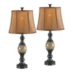 Kenroy - Kenroy 21097BRZ Shay 2-Pack Table Lamp - The Crackled Amber glass ball at Shay's center beautifully reflects light, brightening the Oil Rubbed Bronze finish and creating an attractive accent for end tables and nightstands.