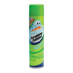 DIVERSEY, INC - C-SCRUBBING BUBBLE(9432)AEROSOL 12/25 OZ - Foaming action thoroughly cleans, shines, disinfects and deodorizes -without scrubbing! Attacks soap scum, hard water stains, mildew and dirt. Kills common germs such as staphylococcus aureus and streptococcus pyogenes. Won't scratch surfaces; leaves a brilliant shine. Not for use on acrylic, brass or marble surfaces. 25-oz. aerosol can. 12 cans per case.. . . . . . 12 Cans per Case. 25-oz. Aerosol Can. Scrubbing Bubbles® Antibacterial Bathroom Cleaner. Dimensions: Height: 0.9, Length: 1, Width: 0.7. Country of Origin: US