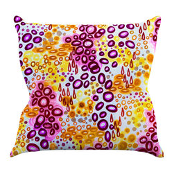 "Kess InHouse - Ebi Emporium ""Circular Persuasion Purple"" Yellow Pink Throw Pillow (18"" x 18"") - Rest among the art you love. Transform your hang out room into a hip gallery, that's also comfortable. With this pillow you can create an environment that reflects your unique style. It's amazing what a throw pillow can do to complete a room. (Kess InHouse is not responsible for pillow fighting that may occur as the result of creative stimulation)."