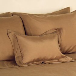 Kumi Basics Pillow Sham - Chestnut - The lustrous extravagance of silk without the exacerbating care:  The Kumi Basics Pillow Sham is created from washable 100% habotai silk that is naturally hypoallergenic and composed of 18 essential amino acids. The white base boasts a contrasting color trim that imparts a fresh and simple sophistication to the transitional appointments of a master suite or guest bedchamber.