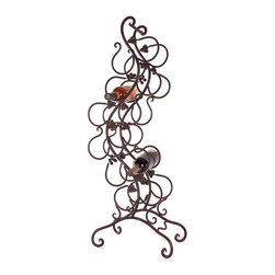 Wine Rack - Contemporary topsy-turvy wine rack featuring metal rungs.