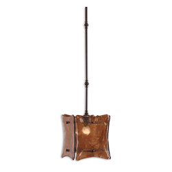 Uttermost - Vetraio II 1-Light Mini Glass Pendant - Hand made toffee art glass suspended by oil rubbed bronze details mingle together for an impressive collection.