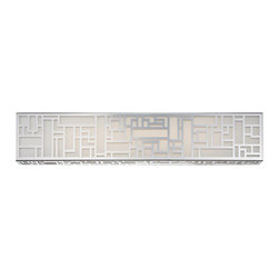 Modern Forms - Maze Bath Bar - Maze Bath Bar is available in a Stainless Steel finish with Silk Screened Mitered glass.  Available in a small, medium or large. One 47 / 55 / 85 watt, 120 volt, 3000K LED lamp is included. Small: 19 inch width x 5 inch height x 3 inch depth. Medium: 28 inch width x 5 inch height x 3 inch depth. Large: 37 inch width x 5 inch height x 3 inch depth. Can be mounted vertically or horizontally. Damp location listed.