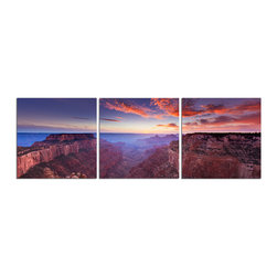 Elementem - Grand Canyon Print - The Grand Canyon is one of the most popular tourist destinations in all the United States for its breathtaking views and awe-inspiring colors.  Our frameless photography triptych print is printed on vinyl and mounted on a wooden MDF frame.   We laminate over each of our photos to allow them to be easily cleaned and protected.  Packed with wall hangers and adhesives, we make them super easy to install.