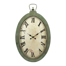 iMax - iMax Noran Oversized Wall Clock X-03374 - A pocket watch fit for a giant, the Noran Oversized Wall Clock, with its warm patina, Roman numerals and classic spade hands will create the perfect vintage look.