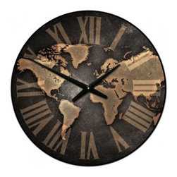 """Tyler - Map Clock Prestige, 30"""" - Made in the USA"""