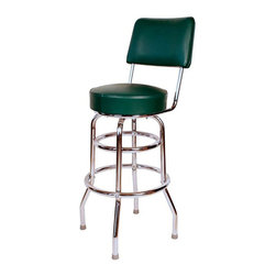 """Richardson Seating - Richardson Seating Retro 1950s 30"""" Swivel Bar Stool with Green Seat - Richardson Seating - Bar Stools - 1958GRN - Richardson Seating Floridian's Floridian collection ships within 2 business days as quick ship items. The 50's retro look bar stool collection is back with added comfort and stylish design. The Floridian collection are commercial bar stools made in the USA and equally ideal for residential use."""