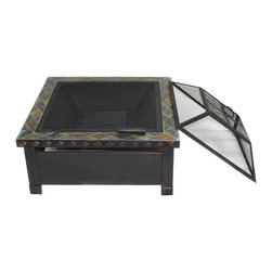 HIO - HIO 30-Inch Wood Burning Fire Pit with Square Slate Top Cover Included - HIO fire pit with heavy duty cast iron bowl brings warmth to your garden or patio.It has four sturdy steel legs which support the whole strong steel bowl.The high-quality and classic brick pattern attractive many friends and families join in your campfire party.It makes any cool outdoor areas become a warm and funny place.