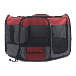 "Favorite - Favorite Nylon Play Pen, Black/Red - Water resistant nylon for indoor and outdoor dog playpen/dog exercise pen kennel/pet play yard; Portable and great for travel-folds quickly for quick storage in included carrying case, and assembles in seconds with no tools required; Mesh design for air flow and visibility with 2 zippered mesh loop-up doors, 1 side storage bag for holding snacks/ toys/ pet medications, 3 ground hooks for fastening the playpen; Capacity: up to 30 lbs; Weight: 6.84 lbs. Perfect for puppy, small & medium dogs, rabbits and small animals; Color: Black & Red; Size: 48"" Diameter x 27 "" High after assembled. 8 panels, each 27"" L x 18"" W."
