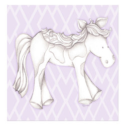 """Doodlefish - Princess Pony Lavender - Princess Pony is an 18"""" x 18"""" Gallery Wrapped Giclee Print that features a mix of graphical elements and a drawing of a pretty pony with a curly mane and tail.  Choose the background color and the background pattern to match your child's room,  Add your child's name or even your favorite pet.  This artwork is also available mounted in a painted frame of your choice.    The finished size of the mounted piece is approximately 22""""x22""""."""
