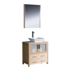 """Fresca - Torino 30"""" Light Oak Vanity w/ Vessel Sink Soana Brushed Nickel Faucet - Fresca is pleased to usher in a new age of customization with the introduction of its Torino line.  The frosted glass panels of the doors balance out the sleek and modern lines of Torino, making it fit perfectly in eithertown or country decor."""