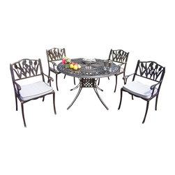 "Oakland Living - Oakland Living Capitol 48"" Tulip 5 Piece Dining Set with Cushions - Oakland Living - Patio Dining Sets - 111610129AB - About This Product:"