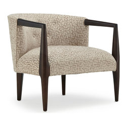 "Mitchell Gold + Bob Williams - Diane's Conversation Chair - Scandinavian style meets ""Mad Men"" era. This cushy, straight-backed chair is ideal for when you're wearing heels and those pencil-thin skirts. The jacquard-maze-patterned fabric and shapely legs are second only to your sexy gams."