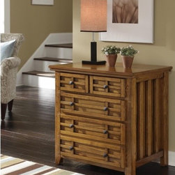 Home Styles - Arts and Crafts Expand-A-Desk Credenza with 2 Drawer - Features: -Constructed of ash solids and oak veneers. -Two storage drawers and a file drawer. -Black matte hardware. -With a 24.5 inch pull-out side that expand the work surface to 54.5 inches. -Can be used as a larger night stand, side table, or standalone piece when closed. -Assembly required.