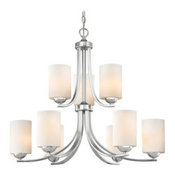 Design Classics Lighting - Two Tier Chandelier with Opal White Cylinder Glass Shades - 586-26 GL1024C - Polished chrome two tier chandelier with shiny opal white glass cylinder shades and nine lights. Takes (9) 100-watt incandescent A19 bulb(s). Bulb(s) sold separately. UL listed. Dry location rated.