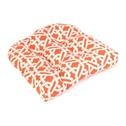 Orange Geometric Outdoor Cushion - These cushions are a steal, and I love the lattice pattern paired with orange.